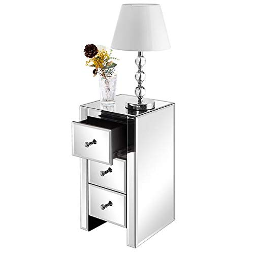 OUTAD Bedside Cabinet With Mirrored Glass Storage Cabinet Chest of Drawers Bedside Table with 3 Drawers for Bedroom Entryway Hallway Living Room Use