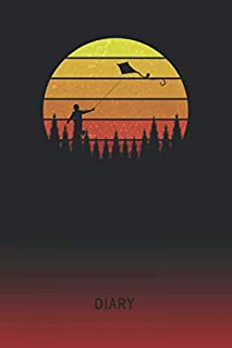 Diary: Blank Kite Flying Personal Writing Memoir | Old School Retro Vintage Sunset 80s Cover | Daily Journaling for Writers & Journalists | ... Set Goals & Write about your Life & Interests