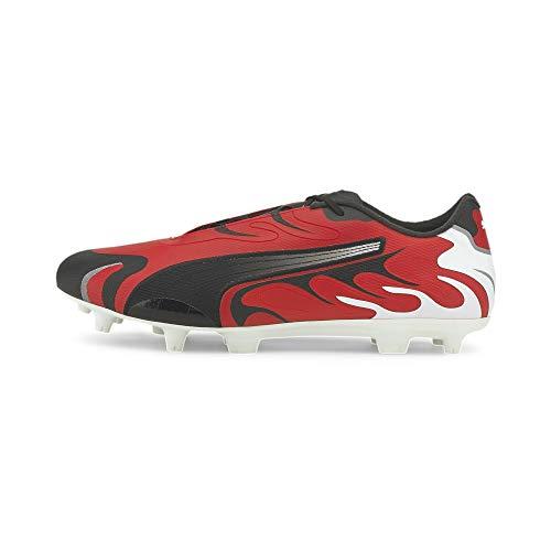 PUMA Future Inhale FG/AG Herren Fußballschuhe White- Black-Red-Silver UK 8_Adults_FR 42