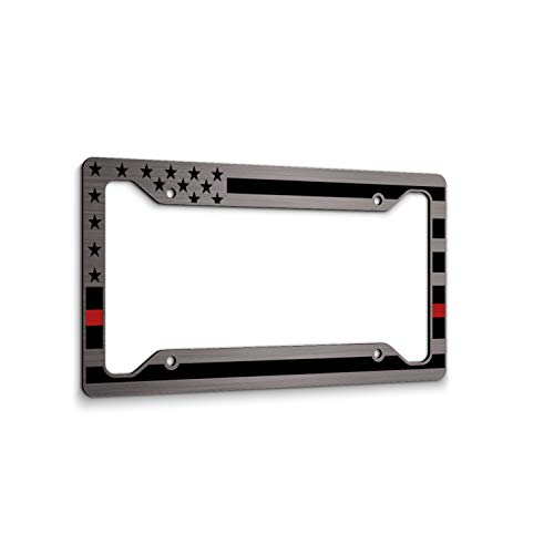 JASS GRAPHIX American Flag License Plate Frame - Thin Red Line- Car Tag Frame -Red On Brushed Firefighter
