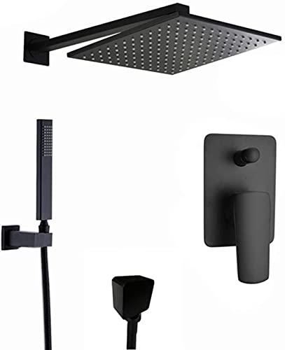 Sistema de Ducha de Ducha de baño, Juego de Accesorios de Ducha empotrados en la Pared para baño, 2 Funciones, Cabezal de Ducha Tipo Lluvia con Cabezal de Ducha de Mano, 8 Pulgadas