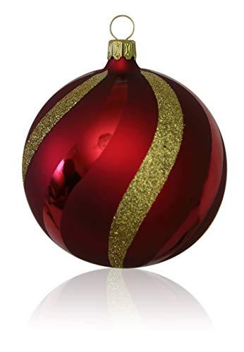 Lauschaer Glas Kugeln dunkelrot matt mit Dekor 5 Stück d 5cm Christbaumschmuck Weihnachtsschmuck mundgeblasen,handdekoriert Original