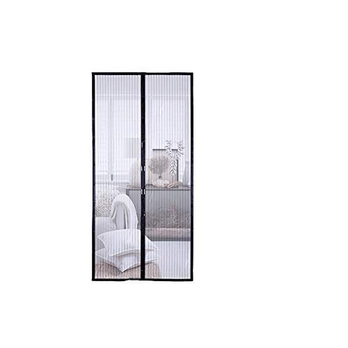 Mosquito puerta magnética para mosquiteras, cortina de control de insectos mágica con velcro de marco completo negro, encriptación muda transpirable de alta resistencia, patio del dormitorio en cas