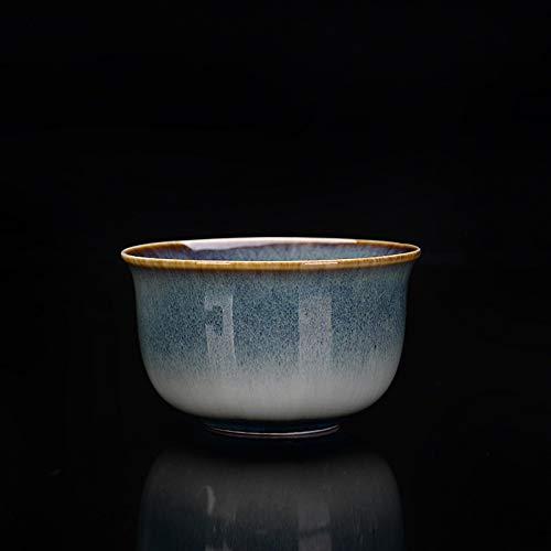 Chanety,taza de agua aislada,taza de agua Horno horneado taza de té temploku glaseado cepillado siyao cambio master taza té té té cerámico kung fu taza taza taza de agua plegable (Color : UN)