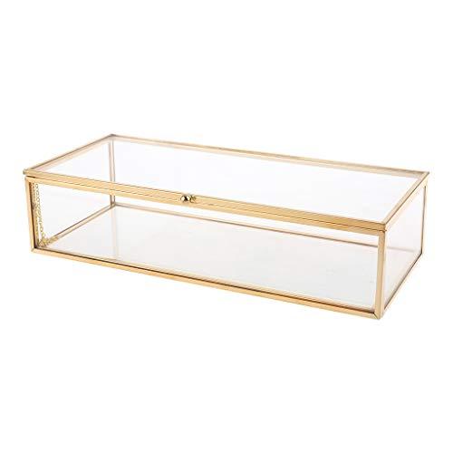 Bciou - Pulsera de cristal dorado vintage con tapa y borde de caja de recuerdo, decoración para el hogar