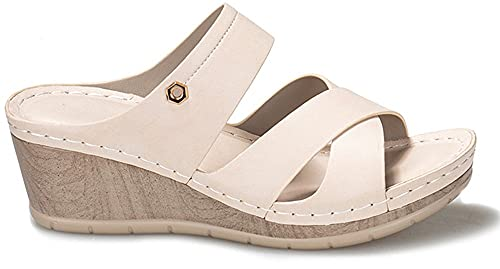 Sandalias de cuero para mujer, punta abierta, verano, sandalias de cuña de gran tamaño, moda retro, antideslizante, cómodos, zapatos de plataforma para mujer, sandalias para mujer, mulas con soporte