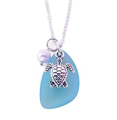 Fait à la main à Hawaii, collier bleu en verre de mer turquoise baie, le charme des tortues de mer, perle d'eau douce, « Décembre Birthstone », (Hawaï cadeau emballé, personnalisable message cadeau)