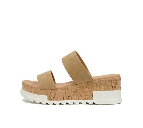 Soda Poppin ~ Slip On Cork Platform Wedge Sandals with 2 Straps on Top (8.5, Camel)