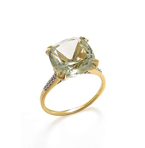 YoTreasure 6.11 Ct Green Amethyst Solid 10k Yellow Gold Statement Ring Jewelry