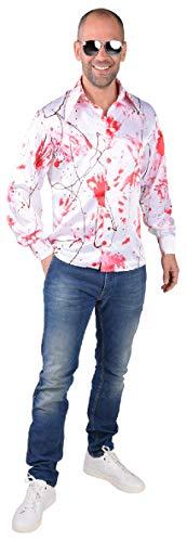 M218260-L weiß-rot Herren blutiges Hemd Dokter Zombie Kostüm Gr.L