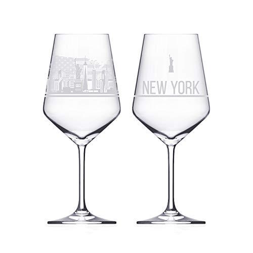 Weinglas 2er Set mit Skyline - Das exklusive Weinglas mit den wichtigsten touristischen Sehenswürdigkeiten. (Kristallglas - Made in Germany), Größe:N.Y.