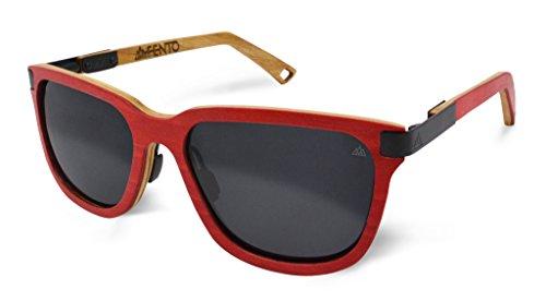 Fento Specta - Gafas de sol de madera hechas a mano | Gafas de sol de madera de diseño para hombre y mujer | Bisagras de muelle de acero inoxidable | Incluye estuche para gafas | Retro | Unisex