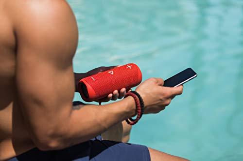 Sharp GX-BT280 (RD) Stereo-Bluetooth-Lautsprecher - kräftiger Bass - hochdynamischer Klangbereich / 12 Stunden Spielzeit/ Staub-Spritzwassergeschützt/ Mikrofon für Telefonate, Google & Siri - Rot