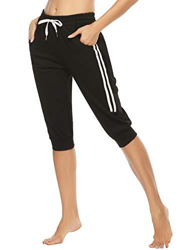 Doaraha Damen Caprihose 3/4 Jogginghose Trainingshose Elegant Relaxhose Sportleggings Yogahose mit Kontraststreifen für Sport und Freizeit, Schwarz, M