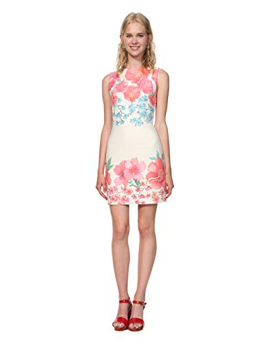 Desigual Damen Dress Sleeveless YAQUEL Woman White Kleid, Weiß (Blanco 1000), X-Large