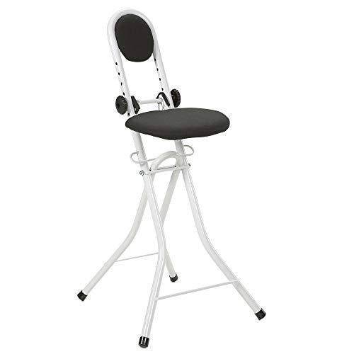 maxVitalis Sitzhilfe, Multisitz, Stehhilfe, Bügelstehhilfe rückenschonend, rutschfest u. platzsparend, 6-fach höhenverstellbar (58-70 cm), mit Rückenkissen, belastbar bis 100kg, Weiß 45 x 91,5 x 47 cm