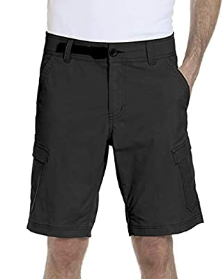 ZeroXposur Mens Stretch Cargo Shorts 6 Pocket Venture Flat Front Woven Hiking Shorts for Men (36, Black)