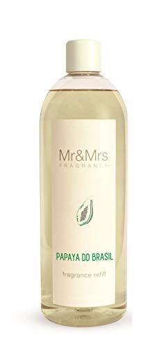 Mr & Mrs Fragrance Refill Diffuseur de Parfum de Parfum de Parfum d'ambiance Blanc 200 ml Papaye du Brésil