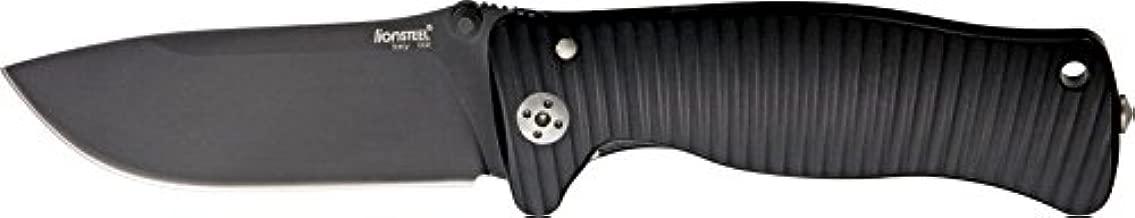 Lion Steel Knives SR1ABB Black Finish Molletta Linerlock Knife with Grooved B...