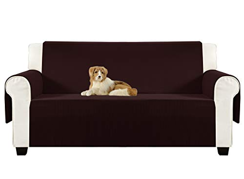 Aidear Anti-Slip Sofa Slipcovers Jacquard Fabric Pet Dog Couch Covers Protectors (Loveseat, Dark Brown)