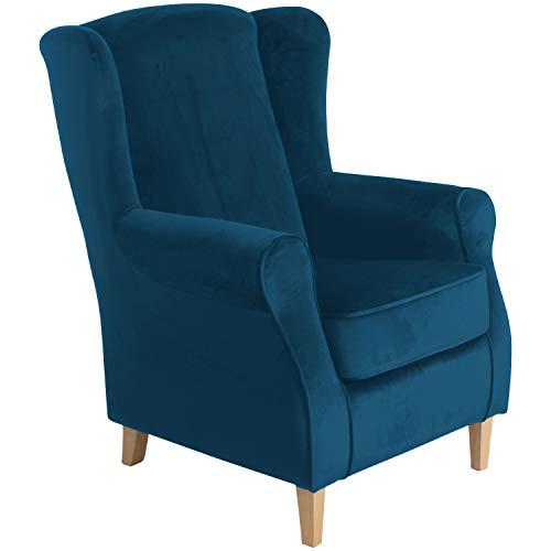 Max Winzer® Ohrensessel Lorris, petrol (blau), Samtvelours, Retro, romantisch, Landhaus, 77 x 86 x 103 cm