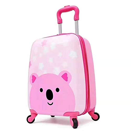 """A2S Carry-on Suitcase, Pretty Suitcase for Girl, Kids Cabin Approved Travel Hand Luggage, Koala Bear Print, 4 Wheels 17.8x11.8x7.9"""""""