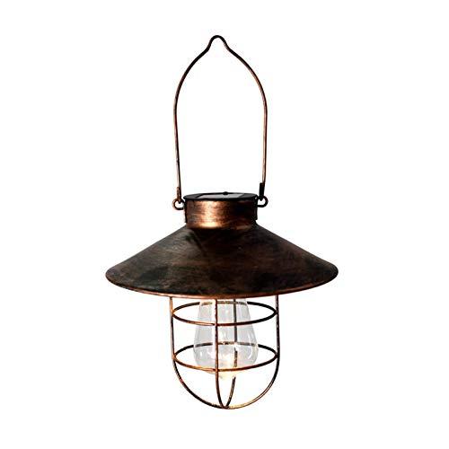 Linterna solar colgante LED luz solar impermeable inteligente control de luz solar decoración luz lámpara de hierro forjado para patios granja patio patio patio