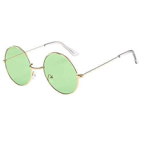 Lazzboy Frauen Männer Vintage Retro Brille Unisex Fashion Circle Frame Sonnenbrille Eyewear Klassische Lennon Runde Polarisierte Mit Schutz Paar Hippie Stil Kreis Farbige Gläser(D)