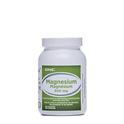 GNC Magnesium 500mg, 120 Capsules, Helps Metabolize Carbohydrates, Proteins and Fats