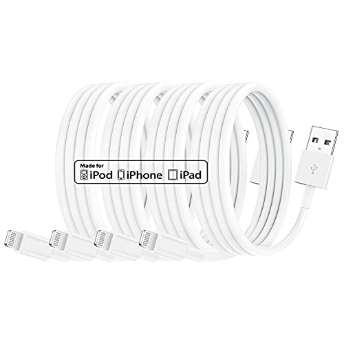 Paquete de 4 Cables de Cargador de iPhone con certificación MFi de Apple de 1 m, Cable de Apple Lightning a USB de 1 Metro para iPhone 11 / 11Pro / 11Max / X/XS/XR/XS MAX / 8/7/6 / iPad 5S / SE