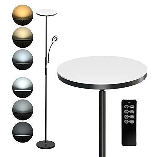 Anten 30W Lampadaire LED avec Liseuse Réglable 5W Lampadaire Sur Pied Salon avec Télécommande Lampe LED Sur Pied avec Luminosité Réglable Lampadaire Chambre Dimmable avec Couleur à Choix 3000K à 6000K
