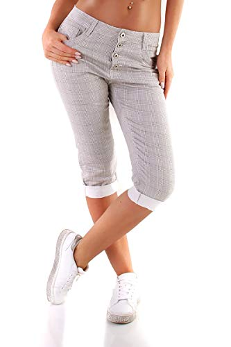 OSAB-Fashion 5441 Karo broek voor dames, geruit treggings met knopenlijst