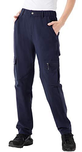 Rdruko Women s Hiking Pants Water Resistant 5 Zipper Pockets Lightweight UV Protection Work Cargo Pants Navy Large