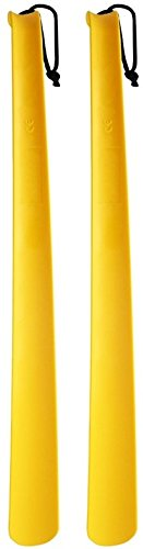 2 Pack Extra Long Handled Shoe Horn with Curved Handle and Hang Up Strap (24 inches)