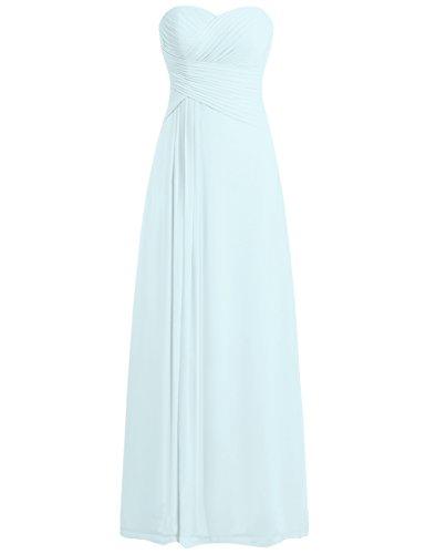 Ballkleider Damen Brautjungfernkleid Abendkleider Lang Partykleider Chiffon A Linie Eisblau EUR58