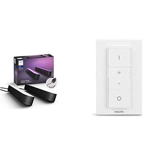 Philips Hue Play Barra de luz regulable compatible con Amazon Alexa, Apple HomeKit y Google Home, luz blanca y de colores + Hue Interruptor / Mando Inteligente Inalámbrico, Portátil