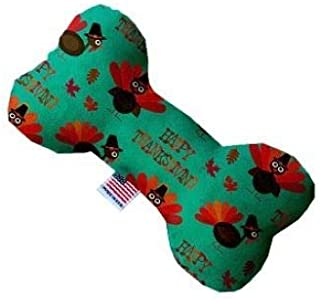 "Mirage Pet Products Plush Bone Dog Toys (Happy Thanksgiving, 6"" Bone)"