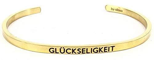 Mein Mantra by Alexa Armreif/Bangle GLÜCKSELIGKEIT Farbauswahl Gold
