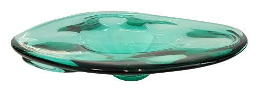 Bol moderne en verre colore grand bol de table dans les couleurs vert transparent souffle a la bouche diametre env. 32 cm hauteur env. 7 cm conçu et fabriqué par l'Oberstdorfer Glashütte