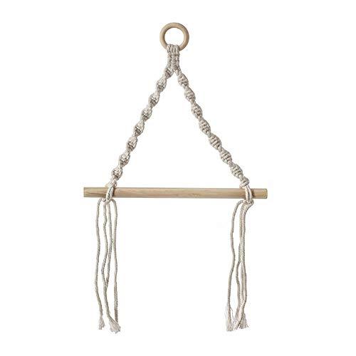 Yunly Toallero bohemio, tejido a mano, se puede utilizar en el baño, cocina, sala de estar o dormitorio, estante de almacenamiento
