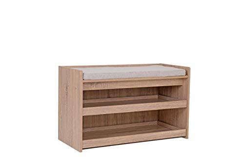 Happy Home Banco zapatero con asiento de 2 pisos para 6 – 8 pares de zapatos, banco de madera para la entrada, pasillo, salón o porche (madera)