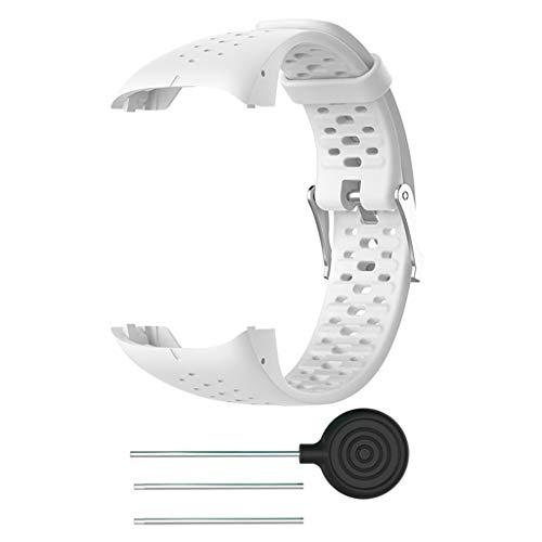 Silikon Armband kompatibel für Polar M400 M430, Silikonarmband Uhrenarmband Sport Ersatz Armband Sportarmband Ersatzband kompatibel für Polar M400 M430 20mm (Weiß)