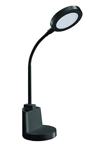Lámpara de escritorio LED de 7 W con interruptor táctil y soporte para bolígrafos, color negro