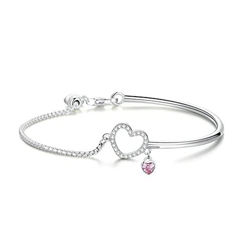 CHIOU Pulseras Nuevo romántico 100% 925 Sterling Silver Heart Rosa CZ Pulseras de brazaletes de Enlace de Cadena para Mujeres Joyas de Plata esterlina Dar Regalos