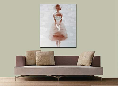 Mooi meisje in een jurk waar een moderne abstracte olieverfschilderij muur decoratieve afbeelding op canvas frameloze schilderij 75x100cm te maken