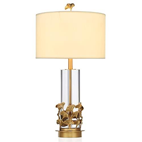 Lámpara de mesa Lámpara de mesa Lámpara de mesa de cristal de cobre Estilo europeo moderno Sala de estar Dormitorio Lámpara de noche Creativa Ginkgo Hoja Lámpara de atenuación decorativa Lámpara de do