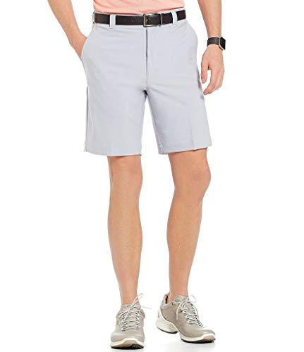 """Roundtree & Yorke Performance 9"""" Flat-Front Stretch Shorts S75HR602 Granite Size 42"""