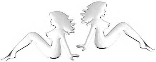 PRESKIN - Autocollant femmes 3D en argent chromé, ciseaux coupés - autocollant brillant, autocollant autocollant autocollant pour voiture, véhicule automobile, moto, scooter, cahier, porte d'entrée, réfrigérateur ...