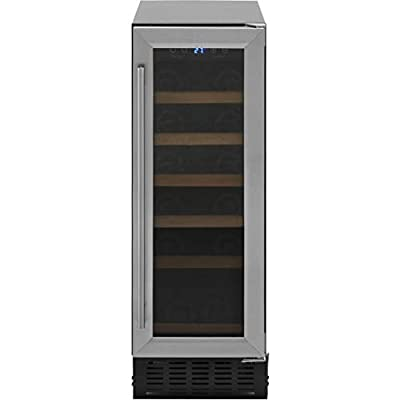 Amica AWC300SS Slimline Freestanding Undercounter Stainless Steel Wine Cooler with A Energy Rating, Triple glazed reversible door and LED lighting