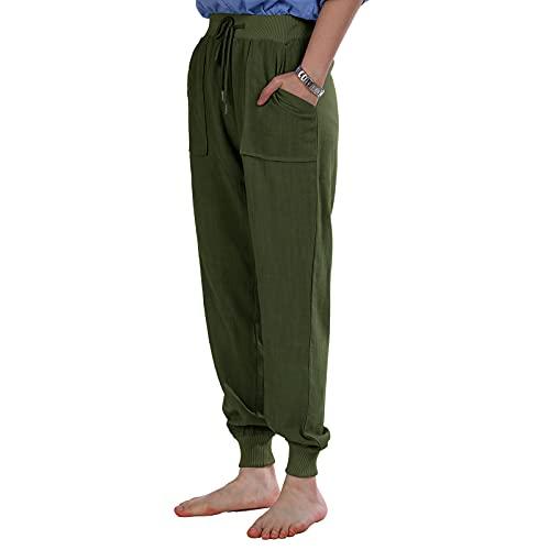 Jodimitty Pantalones de chándal para mujer, pantalones de chándal largos para mujer, con cordón y bolsillos, corte ajustado, cintura alta, para yoga, ocio, suaves, largos, para mujer (verde, M)